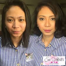 before and after makeup certified airbrush and hd makeup artist and hairstylist in manila cainta rizal philippines wedding hair and makeup artist