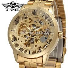 online buy whole watch company men from watch company winner men s watch top brand luxury automatic skeleton gold factory company stainless steel bracelet wristwatch wrg8003m4g1