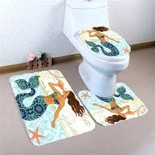 Mermaid Bath Rug Nonslip Mermaid Bath Mats Set Toilet Lid Cover Absorbent  Floor Rug Carpet Doormat