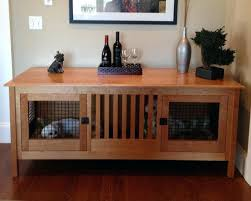 Custom Dog Kennel Furniture Crate Hinged Door Wood Bed Pet Cage