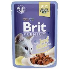 Влажный корм <b>Brit Premium</b> для кошек говядина в желе (<b>пауч</b>) 85гр