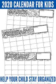 This free printable calendar was made to allow kids to trace the month names and numbers. Printable Children S Calendar 2020 Help Tweens Teens Get Organized