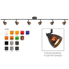 d168 66 shown with dark bronze finished with brown spot shades d168 66 db brns ceiling mount track lighting