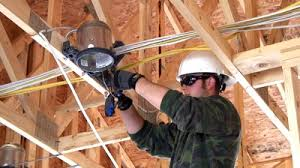 Construction Electrician Stock Footage New Home Construction Electrician Installing A