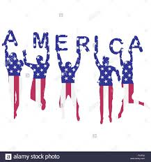 american flag word art people silhouettes patterned in usa flag and holding letters with
