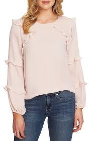 Details About Cece Womens Light Pink Size Large L Flutter Trim Chiffon Blouse 79 150