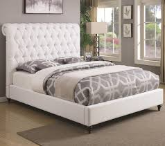coaster devon queen upholstered bed in white fabric  prime