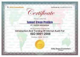 Sertifikat Pelatihan Java Certificate Training Contoh Sertifikat Pelatihan Dari