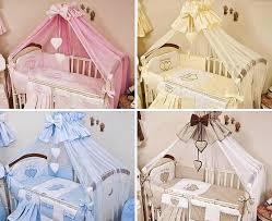 luxury 15 pcs baby nursery cot bedding set large canopy netting plain heart