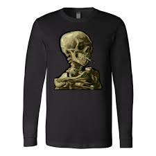 Skeleton Design T Shirt Skull Of A Skeleton With Burning Cigarette Design By