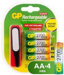 Купить <b>аккумулятор GP AA</b> (HR6) <b>2700</b> мАч, 4 шт + USB LED ...
