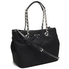 Amazon.com: Prada Women's Black Quilted Tessuto Chain Shoulder ... & Prada Women's Black Quilted Tessuto Chain Shoulder Tote Bag 1BG740 Adamdwight.com
