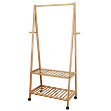 SONGMICS Multifuctional Bamboo Garment Laundry Rack with 4 Coat Hooks  2-tier Shoe Clothes Storage Shelves URCR52N