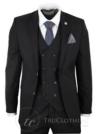 Time And Tru Clothing Size Chart Mens Black 3 Piece Pinstripe Suit