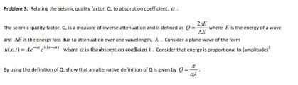 factor form definition solved problem 3 relating the seismic quality factor q