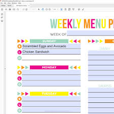 Meal Plan Template For Weight Loss Program 1709