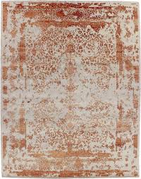 contemporary rug patterned wool viscose erased orange