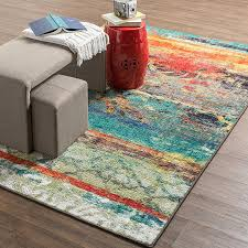 mohawk home strata eroded distressed abstract printed area rug 7 6x10 multicolor