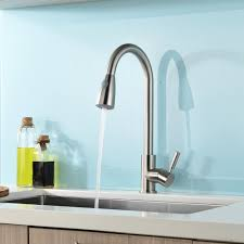 concordia brushed nickel single handle kitchen sink faucet with pull down sprayer