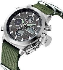 Golden Hour <b>Fashion</b> Green Fabric <b>Men's</b> Military <b>Watch</b> Waterproof