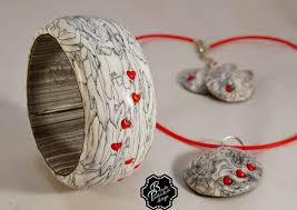 polymer clay necklace pendant earrings bangle clay set grey fimo with small