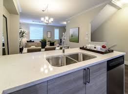 White Cashmere Carrara Quartz Modern Kitchen Countertop With Sinks And  Wooden Cabinets