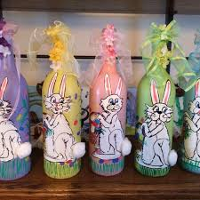 Easter hand painted wine bottles with lights