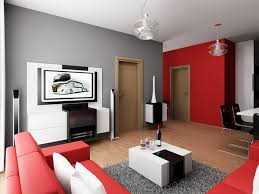 simple modern living room. Red And Grey Wall Scheme In Simple Modern Living Room D
