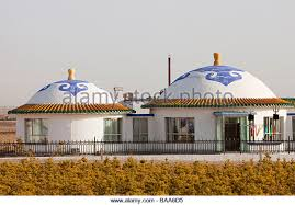 A Mongolian house near Dongsheng in Inner Mongolia China - Stock Image