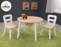 Kidkraft Heart Table And Chair Set Amazoncom Kidkraft Round Table And 2 Chair Set White Natural