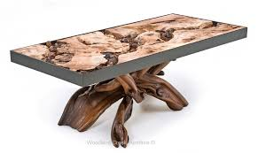 Lodge Log Cocktail Table with Natural Artistic Root Base