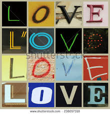 collage fonts free collage letters forming word love different stock photo royalty