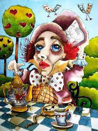 alice in wonderland painting the mad hatter by lucia stewart