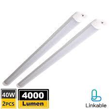 Led Shop Lights Pack Of 2 Linkable Led Shop Lights For Garage 4 Foot With Plug 40w 4000lm 6500k Daylight White Flushmount Led Utility Ceiling Lights For