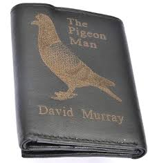 dels about homing racing pigeon personalised gift wallet end with any name leather