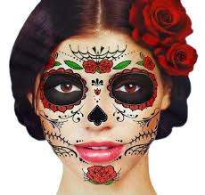 glitter red roses day of the dead sugar skull temporary face tattoo kit pack of