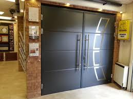 henderson insulated anthracite garage door with design