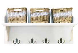 shabby chic wicker basket set of 3 wall mounted storage wooden unit shelves kit