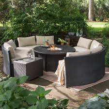 patio furniture fire pit set new belham living meridian wicker set with round weave fire