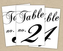 Black Table Numbers Printable Template Instant