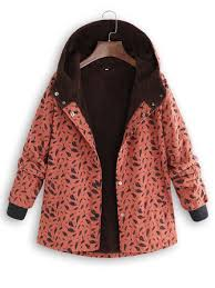 <b>plus size women leaf</b> print high collar pockets hooded coats at ...