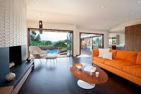 mid century modern fireplace living room