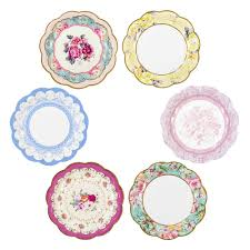 Small <b>Vintage Style Alice</b> in Wonderland Floral Paper Plate Pack of 12