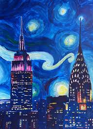home decor painting starry night in new york van gogh inspirations in manhattan by