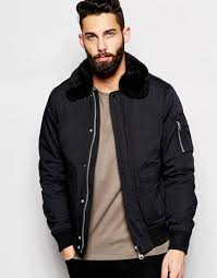 schott er jacket with faux fur collar black men schott nyc er jacket with contrast trim 100 high quality guarantee
