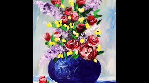 spring flowers in a vase step by step acrylic painting on canvas for beginners