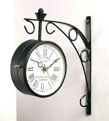 outdoor train station double 2 sided clock thermometer clocks wall copper railway pla