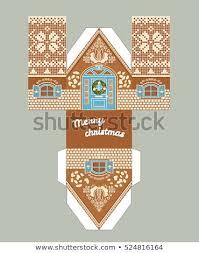 Printable Gift Gingerbread House Christmas Glaze Stock Vector
