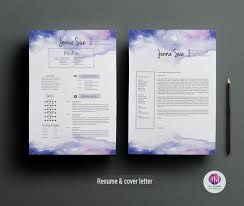 Creative Cv Template Cover Letter Template Watercolor Background