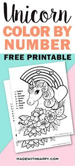 Make your world more colorful with printable coloring pages from crayola. Unicorn Color By Number Free Printable Unicorn Coloring Pages